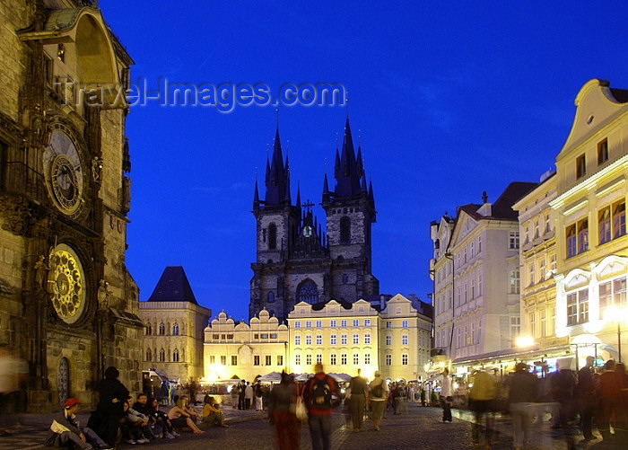 czech180: Czech Republic - Prague: Astronomical Clock and the Old Town Square - dusk - photo by J.Kaman - (c) Travel-Images.com - Stock Photography agency - Image Bank
