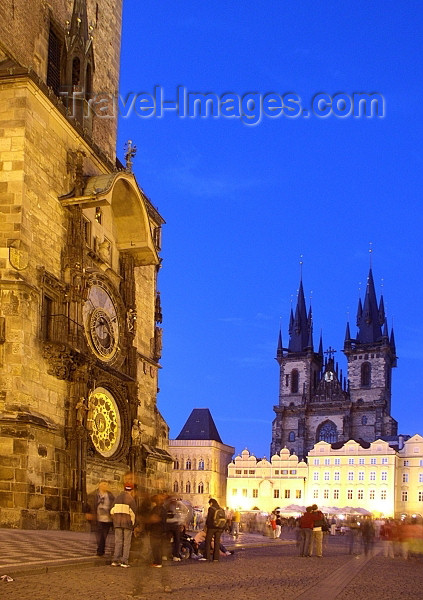 czech181: Czech Republic - Prague: Astronomical Clock and the Old Town Square - night arrives - photo by J.Kaman - (c) Travel-Images.com - Stock Photography agency - Image Bank