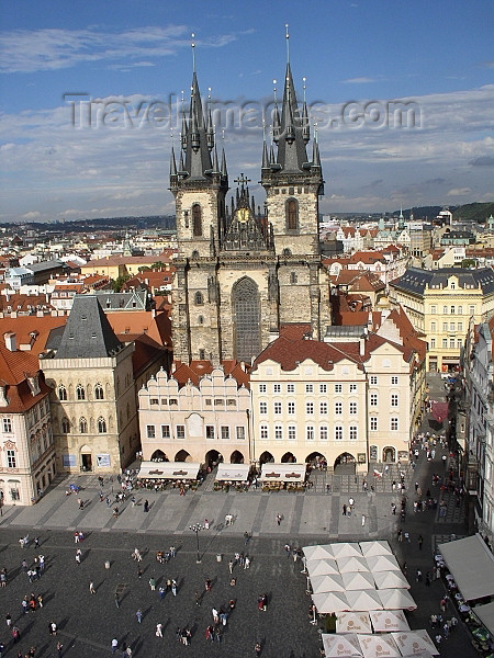 czech188: Czech Republic - Prague: view from the Old Town Hall - Old Town square and the Church of Our Lady Before Tyn - summer - photo by J.Kaman - (c) Travel-Images.com - Stock Photography agency - Image Bank