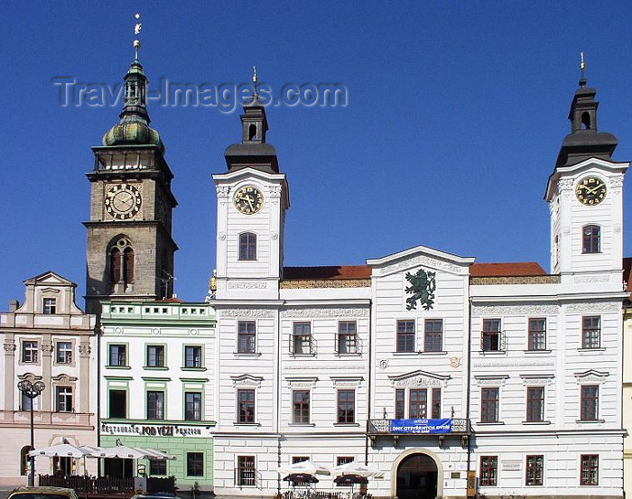czech226: Czech Republic - Hradec Králové: Town hall and White Tower / radnice na Velkém námestí - Bela vez - photo by J.Kaman - (c) Travel-Images.com - Stock Photography agency - Image Bank