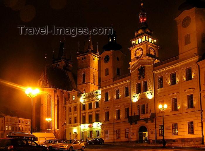 czech231: Czech Republic - Hradec Kralove: Town hall - Velké námestí - nocturnal - photo by J.Kaman - (c) Travel-Images.com - Stock Photography agency - Image Bank