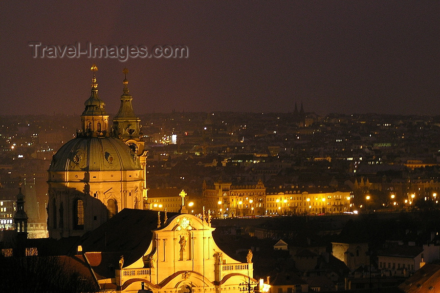 czech369: Czech Republic - Prague / Praha: nocturnal skyline - dome - photo by J.Kaman - (c) Travel-Images.com - Stock Photography agency - Image Bank