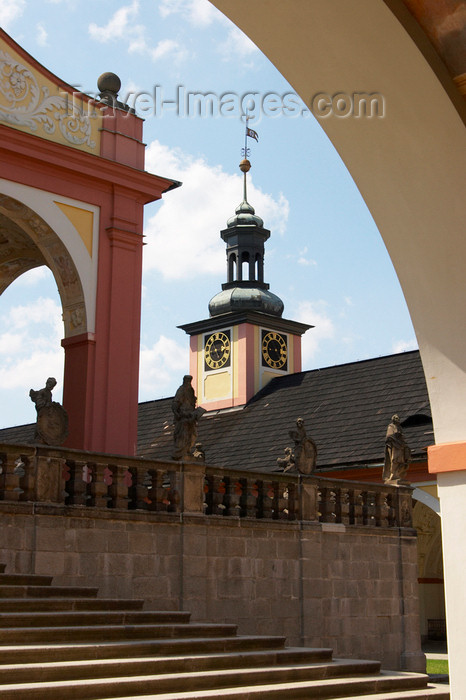 czech384: Czech Republic - Príbram: Svata Hora - cloister - stairs and clock tower - photo by H.Olarte - (c) Travel-Images.com - Stock Photography agency - Image Bank