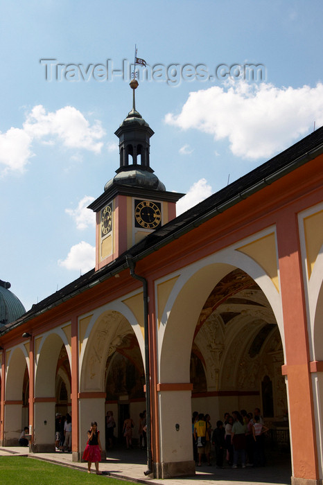 czech385: Czech Republic - Príbram: Svata Hora - cloister - arcade and clock tower - photo by H.Olarte - (c) Travel-Images.com - Stock Photography agency - Image Bank