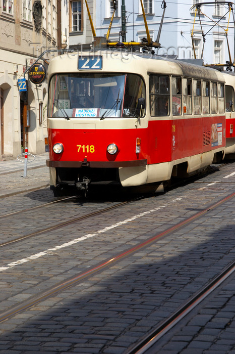 czech431: red tram. Prague, Czech Republic - photo by H.Olarte - (c) Travel-Images.com - Stock Photography agency - Image Bank