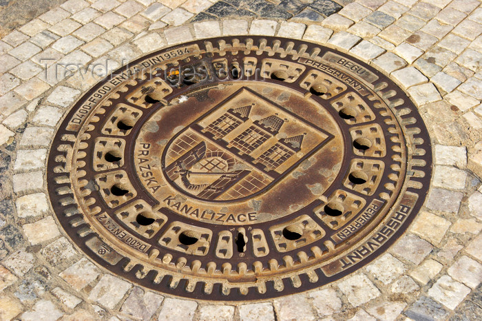 czech445: Artful manhole cover in Prague, Czech Republic - photo by H.Olarte - (c) Travel-Images.com - Stock Photography agency - Image Bank