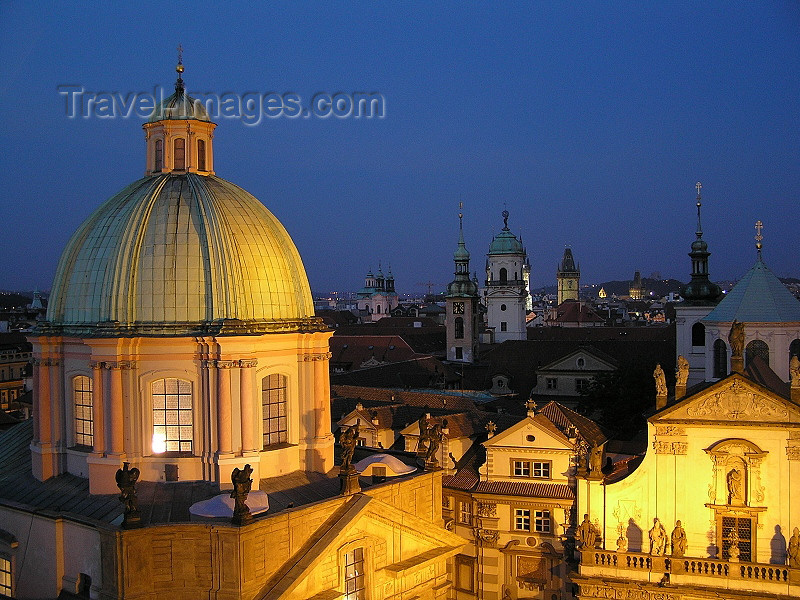 czech457: Prague, Czech Republic: domes and spires at night - photo by J.Kaman - (c) Travel-Images.com - Stock Photography agency - Image Bank