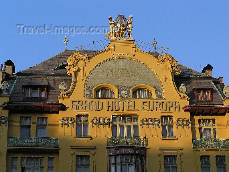 czech464: Prague, Czech Republic: Grand Hotel Evropa - art noveau by Bedrich Bendelmayer and Alois Dryak - Venceslaus Square - photo by J.Kaman - (c) Travel-Images.com - Stock Photography agency - Image Bank