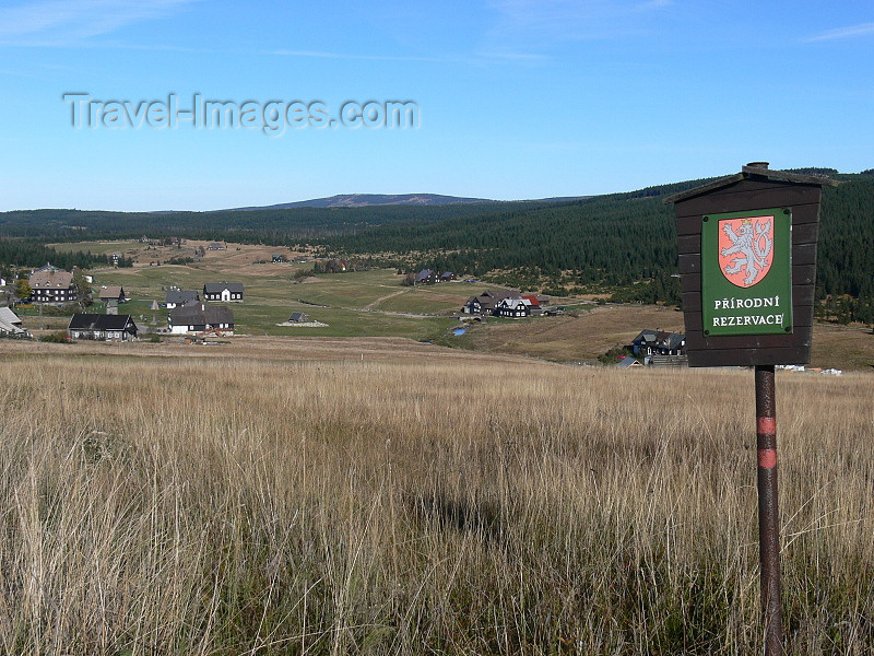 czech488: Czech Republic - Jizera Mountains / Jizerske hory: nature reserve sign - Liberec Region - photo by J.Kaman - (c) Travel-Images.com - Stock Photography agency - Image Bank