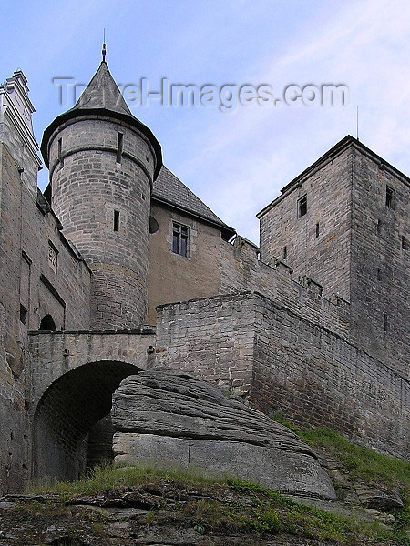 czech528: Czech Republic - Mladejov  - Jicin District: Kost Castle - bridge and ramparts - Cesky Raj - Bohemian Paradise - Hradec Kralove Region - photo by J.Kaman - (c) Travel-Images.com - Stock Photography agency - Image Bank