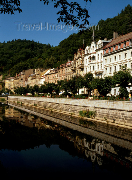 czech531: Czech Republic - Karlovy Vary / Carlsbad: facades along the river Ohre - riverside promenade - photo by J.Fekete - (c) Travel-Images.com - Stock Photography agency - Image Bank