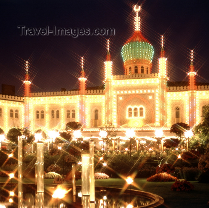 denmark23: Copenhagen, Denmark: Tivoli Gardens at night - amusement  park - photo by J.Fekete - (c) Travel-Images.com - Stock Photography agency - Image Bank