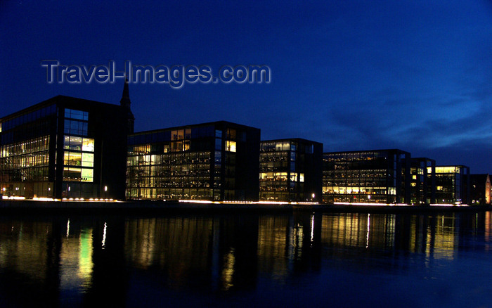 denmark62: Denmark - Copenhagen / København / CPH: Lighted Buildings at Dusk - waterfront - photo by G.Friedman - (c) Travel-Images.com - Stock Photography agency - Image Bank