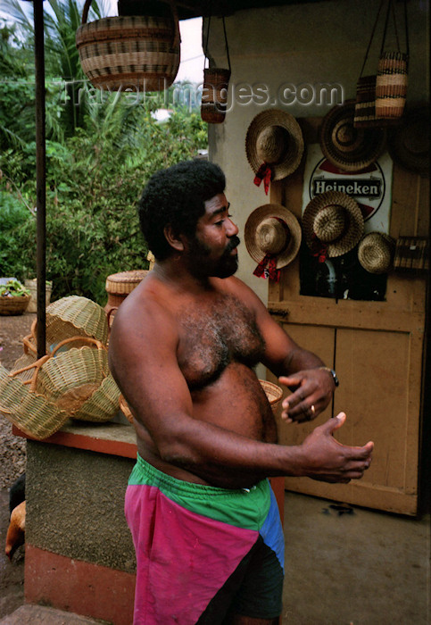 dominica8: Dominica: local man at a shop, descendent of Caribe Amerindians - photo by G.Frysinger - (c) Travel-Images.com - Stock Photography agency - Image Bank