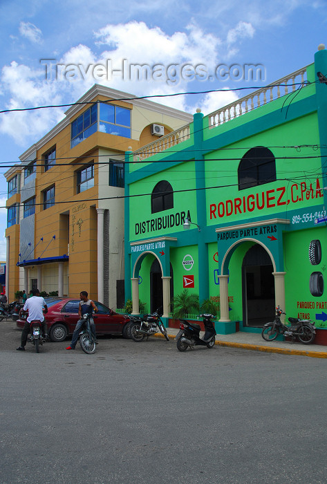 dominican129: Higüey, Dominican Republic: colourful façades on the main square - photo by M.Torres - (c) Travel-Images.com - Stock Photography agency - Image Bank