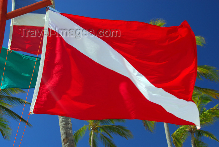 dominican174: Punta Cana, Dominican Republic: diver down flag - Arena Gorda Beach - photo by M.Torres - (c) Travel-Images.com - Stock Photography agency - Image Bank