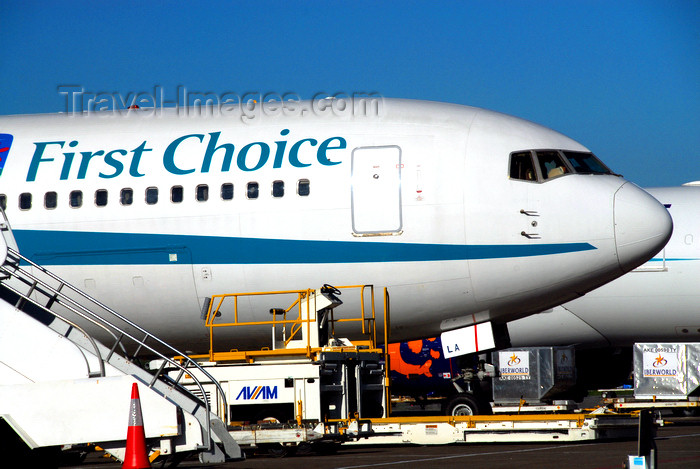 dominican197: Punta Cana, Dominican Republic: First Choice Boeing 767-35E(ER) G-DBLA - front of fuselage and Ground Support Equipment - Punta Cana International Airport - PUJ / MDPC - photo by M.Torres - (c) Travel-Images.com - Stock Photography agency - Image Bank