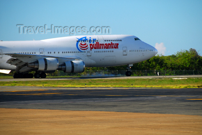 dominican204: Punta Cana, Dominican Republic: Air Pullmantur Boeing 747-341 EC-IOO - landing - Punta Cana International Airport - PUJ / MDPC - photo by M.Torres - (c) Travel-Images.com - Stock Photography agency - Image Bank