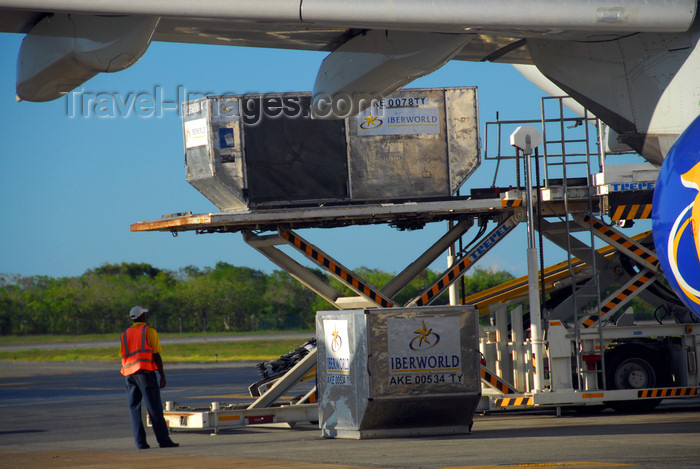 dominican206: Punta Cana, Dominican Republic: cargo - container loader - type AKE Unit Load Devices (ULDs) being loaded into an Iberworld Airbus A330-322 - Punta Cana International Airport - PUJ / MDPC - photo by M.Torres - (c) Travel-Images.com - Stock Photography agency - Image Bank