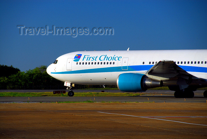 dominican208: Punta Cana, Dominican Republic: First Choice Boeing 767-35E(ER) G-DBLA - before takeoff - Punta Cana International Airport - PUJ / MDPC - photo by M.Torres - (c) Travel-Images.com - Stock Photography agency - Image Bank