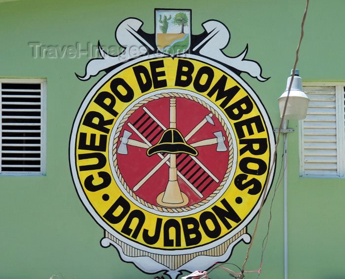 dominican246: Dajabón, Dominican Republic: logo at the fire station - Cuerpo de Bomberos - photo by M.Torres - (c) Travel-Images.com - Stock Photography agency - Image Bank