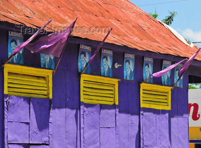 dominican250: Dajabón, Dominican Republic: campaigning for the presidential election - posters on a blue wall - photo by M.Torres - (c) Travel-Images.com - Stock Photography agency - Image Bank