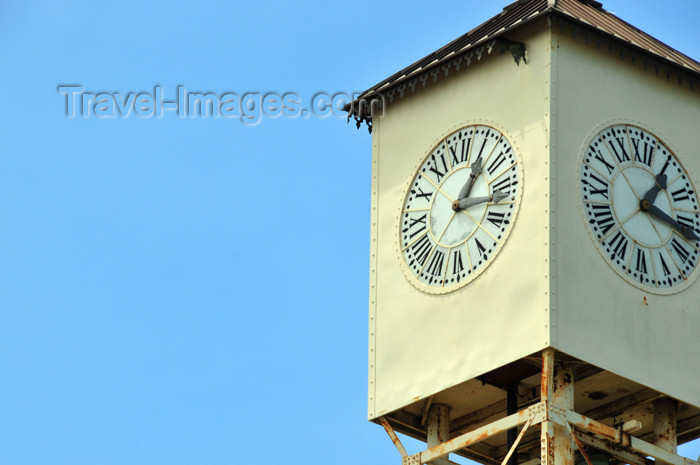 dominican253: Monte Cristi, Dominican Republic: Public clock, built under the initiative of Benigno Daniel Conde - Reloj publico de Monte Cristi - Parque Duarte, old-Plaza de Armas - photo by M.Torres - (c) Travel-Images.com - Stock Photography agency - Image Bank