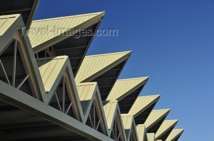 dominican261: El Catey, Samaná province, Dominican republic: landside view of Samaná El Catey International Airport / Presidente Juan Bosch - AZS - architecture - detail of pointed roofs - photo by M.Torres - (c) Travel-Images.com - Stock Photography agency - Image Bank
