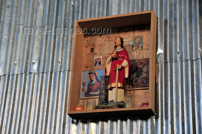 dominican263: El Catey, Samaná province, Dominican republic: Santa Barbara and corrugated galvanised iron - home style altar - Samaná El Catey International Airport - photo by M.Torres - (c) Travel-Images.com - Stock Photography agency - Image Bank