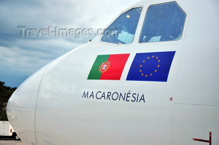 dominican280: El Catey, Samaná province, Dominican republic: SATA International Airbus A310-325(ET) CS-TKN (cn 624) - Macaronesia - nose detail - Portuguese and European flags - Samaná El Catey International Airport - photo by M.Torres - (c) Travel-Images.com - Stock Photography agency - Image Bank