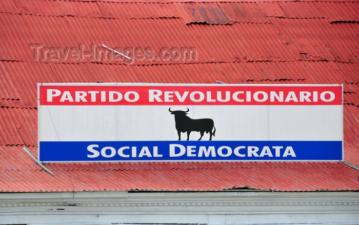 dominican284: Puerto Plata, Dominican republic: a political party uses Spain's Black Osborne Bull as its symbol - Parque Central - Partido Revolucionario Social Democrata - photo by M.Torres - (c) Travel-Images.com - Stock Photography agency - Image Bank