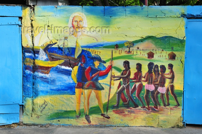 dominican297: Puerto Plata, Dominican republic: Colombo's fleet arrives in Quizqueya - mural at Parque Regalado - photo by M.Torres - (c) Travel-Images.com - Stock Photography agency - Image Bank