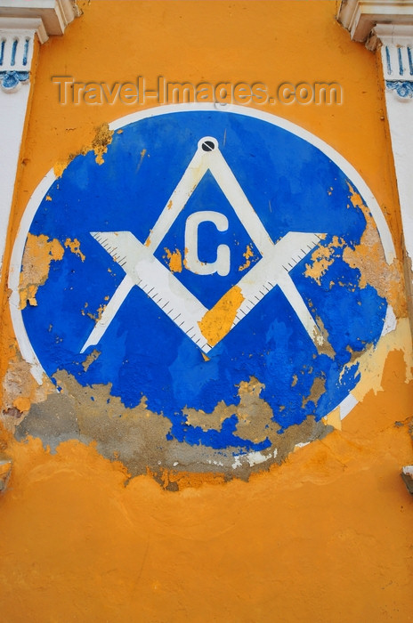 dominican300: Puerto Plata, Dominican republic: Masonic Square and Compasses - symbolism at the Malecón - Restauración masonic lodge - Respetable Logia Restauración al Or.·. de Puerto Plata - photo by M.Torres - (c) Travel-Images.com - Stock Photography agency - Image Bank