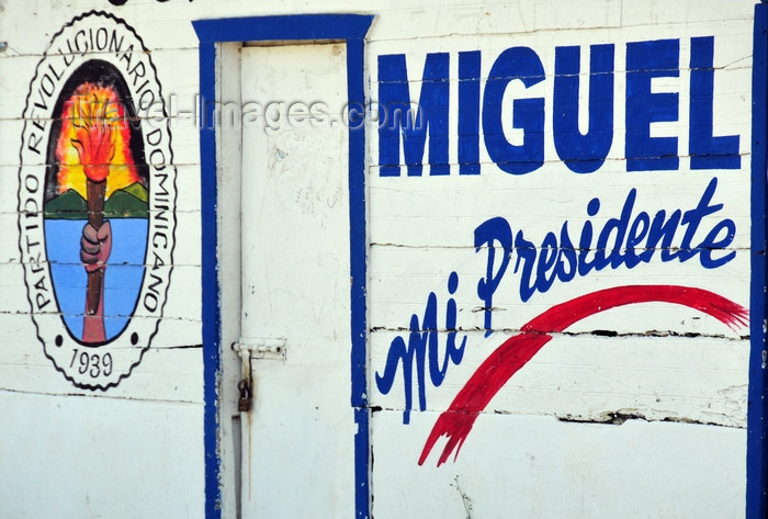 dominican326: Gaspar Hernández, Espaillat province, Dominican republic: in the D.R. presidential candidates are known on a first name basis - Miguel's local campaign HQ - Partido Revolucionário Dominicano - photo by M.Torres - (c) Travel-Images.com - Stock Photography agency - Image Bank