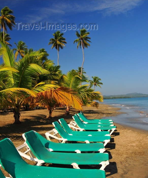 dominican347: Río San Juan, María Trinidad Sánchez province, Dominican republic: beach chairs and young coconut trees - photo by M.Torres - (c) Travel-Images.com - Stock Photography agency - Image Bank