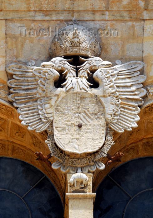 dominican37: Santo Domingo, Dominican Republic: Catedral Primada de America - Spanish imperial arms borne by a double-headed eagle, surmounted by an imperial crown, surrounded with the collar of the Golden Fleece - Holy Metropolitan Cathedral Basilica of our Lady Holy Mary of the Incarnation - Catedral Santa Maria La Menor - Ciudad Colonial - UNESCO World Heritage site - photo by M.Torres - (c) Travel-Images.com - Stock Photography agency - Image Bank