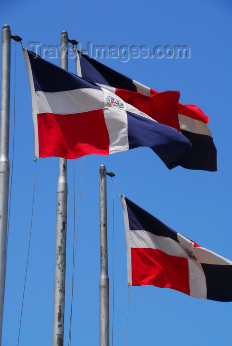 dominican48: Santo Domingo, Dominican Republic: tree Dominican flags - Puerta de la Atarazana - photo by M.Torres - (c) Travel-Images.com - Stock Photography agency - Image Bank