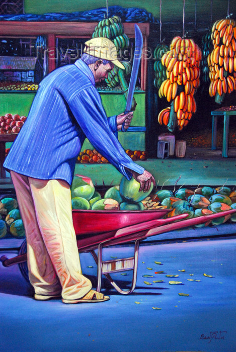 dominican75: Santo Domingo, Dominican Republic: Dominican painting - banana worker - photo by M.Torres - (c) Travel-Images.com - Stock Photography agency - Image Bank