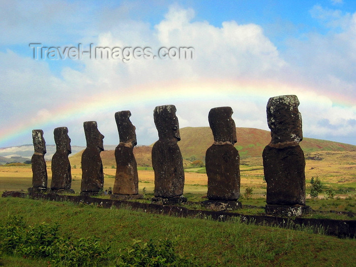 easter12: Easter Island - Ahu Akivi: rainbow over moais - photo by Rod Eime - (c) Travel-Images.com - Stock Photography agency - Image Bank