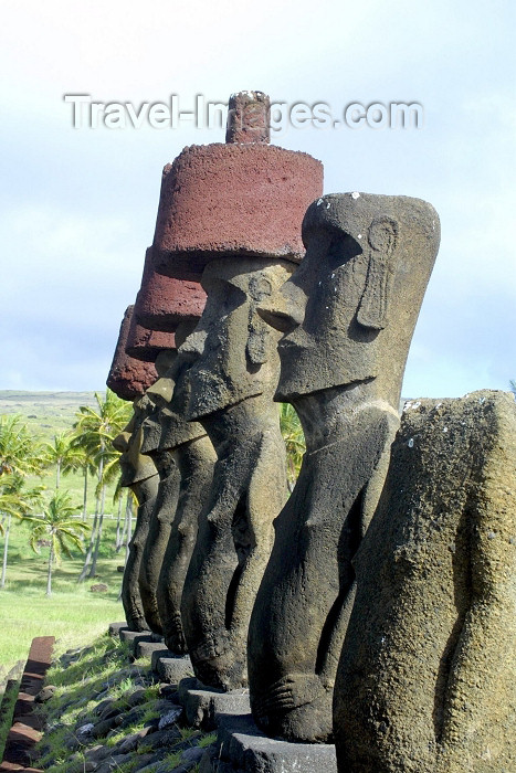 easter13: Easter Island / Rapa Nui- Anakena on the north coast - moais - statues carved from compressed volcanic ash - photo by Rod Eime - (c) Travel-Images.com - Stock Photography agency - Image Bank