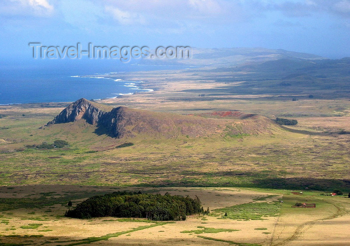 easter14: Easter Island - Wide view of Rano Raraku and the south coast - photo by Rod Eime - (c) Travel-Images.com - Stock Photography agency - Image Bank