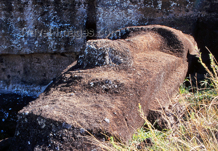 easter8: Easter Island - unfinished megalith still in rock quarry - photo by G.Frysinger - (c) Travel-Images.com - Stock Photography agency - Image Bank