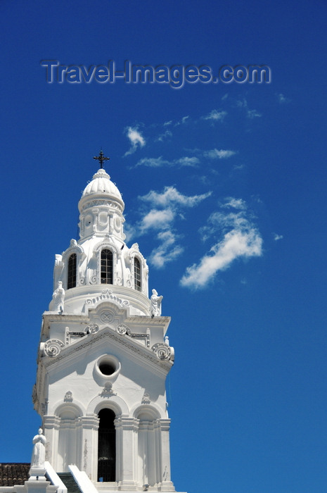 ecuador149: Quito, Ecuador: Catedral Metropolitana - Metropolitan Cathedral - Garcia Moreno street - white-washed steeple on the western façade, on Garcia Moreno street - photo by M.Torres - (c) Travel-Images.com - Stock Photography agency - Image Bank