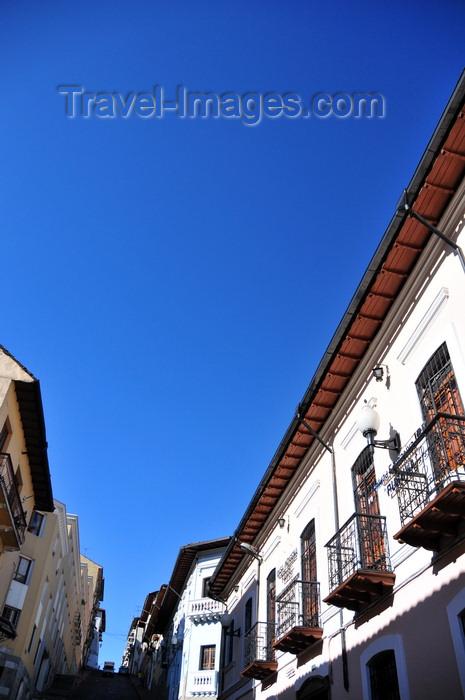ecuador169: Quito, Ecuador: climbing Calle Gabriel Garcia Moreno, cear Calle Oriente - Casa Indigena Fierpi - old Calle de las Siete Cruces - photo by M.Torres - (c) Travel-Images.com - Stock Photography agency - Image Bank