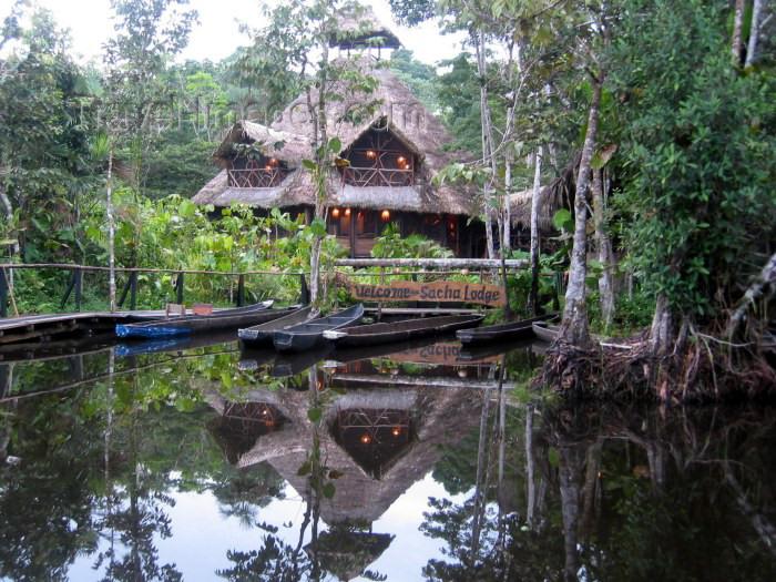 ecuador19: Ecuadorian Amazonia: welcome to Sasha lodge (photo by Rod Eime) - (c) Travel-Images.com - Stock Photography agency - Image Bank
