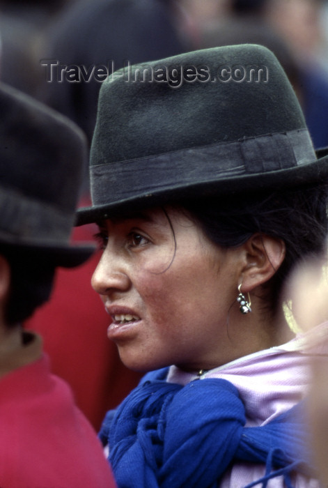 ecuador27: Quito, Ecuador: Quechua woman with hat, in a demonstration - photo by J.Fekete - (c) Travel-Images.com - Stock Photography agency - Image Bank