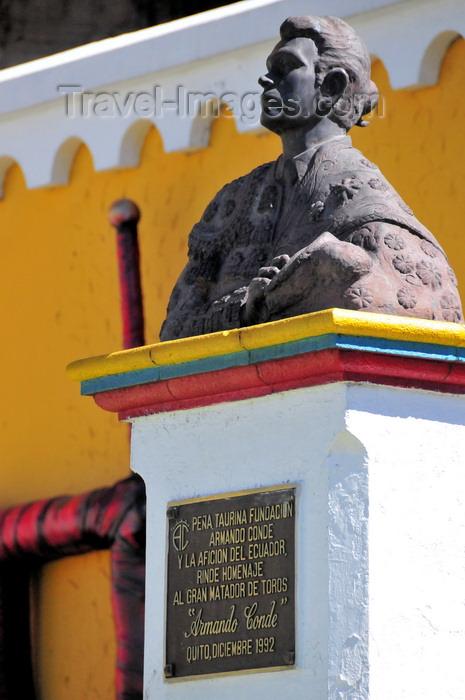 ecuador69: Quito, Ecuador: Quito Bullring - Plaza de Toros de Quito - monument to the ecuadorian Matador Armando Conde - photo by M.Torres - (c) Travel-Images.com - Stock Photography agency - Image Bank