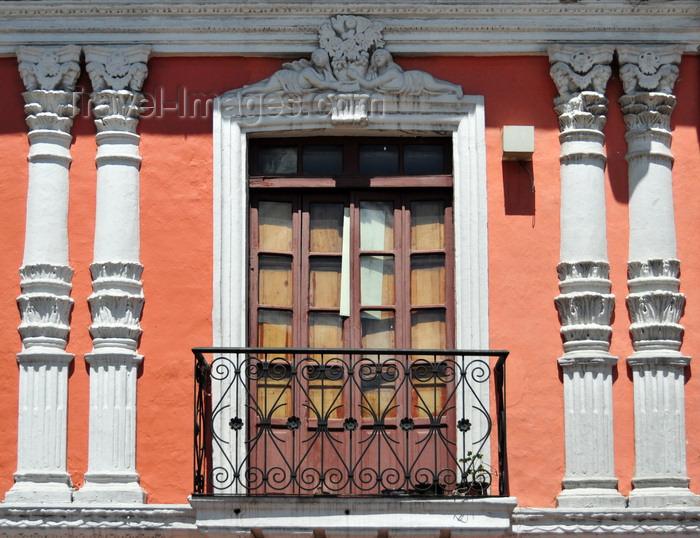 ecuador95: Quito, Ecuador: Plaza de la Merced - detail of façade with wrought iron balcony - Calle Cuenca - photo by M.Torres - (c) Travel-Images.com - Stock Photography agency - Image Bank