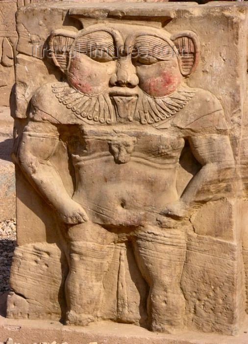 egypt188: Dendera / Denderah / Lunet / Tantere - near Quina, Minya Governorate, Egypt: god Bes /  Bisu in the temple complex - Roman period - photo by G.Frysinger - (c) Travel-Images.com - Stock Photography agency - Image Bank