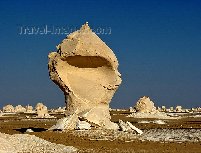 egypt253: White Desert National Park / Sahara el Beyda, New Valley Governorate, Egypt: lollipop-like hoodoo, as if designed by Salvador Dali - Western Desert - photo by J.Kaman - (c) Travel-Images.com - Stock Photography agency - Image Bank
